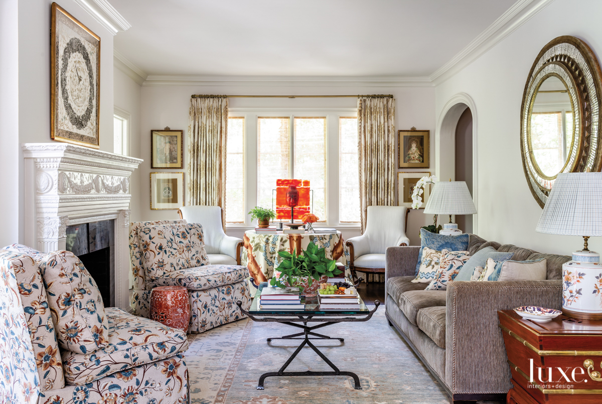 classic living room with vintage...
