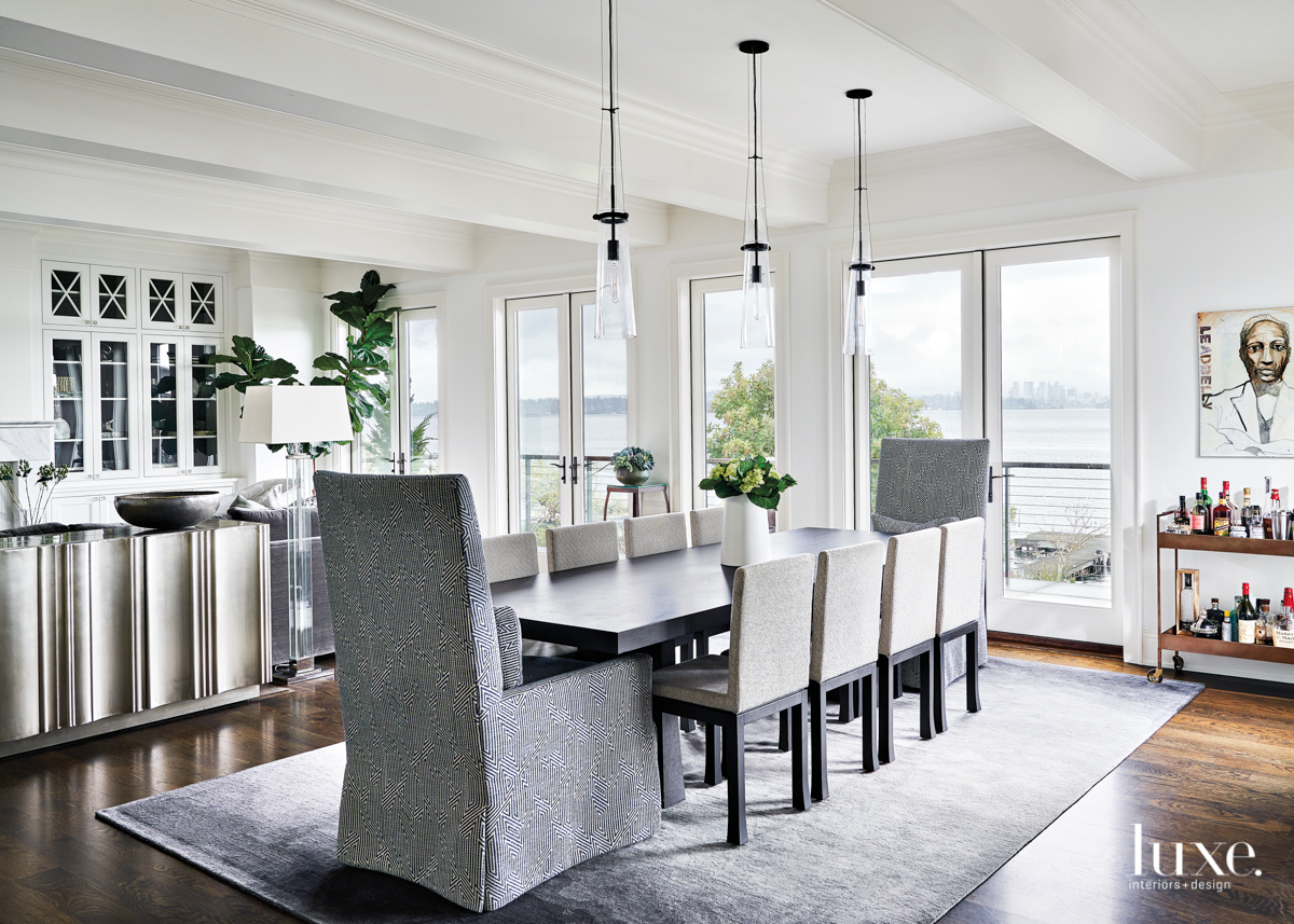 gray white dining room with...
