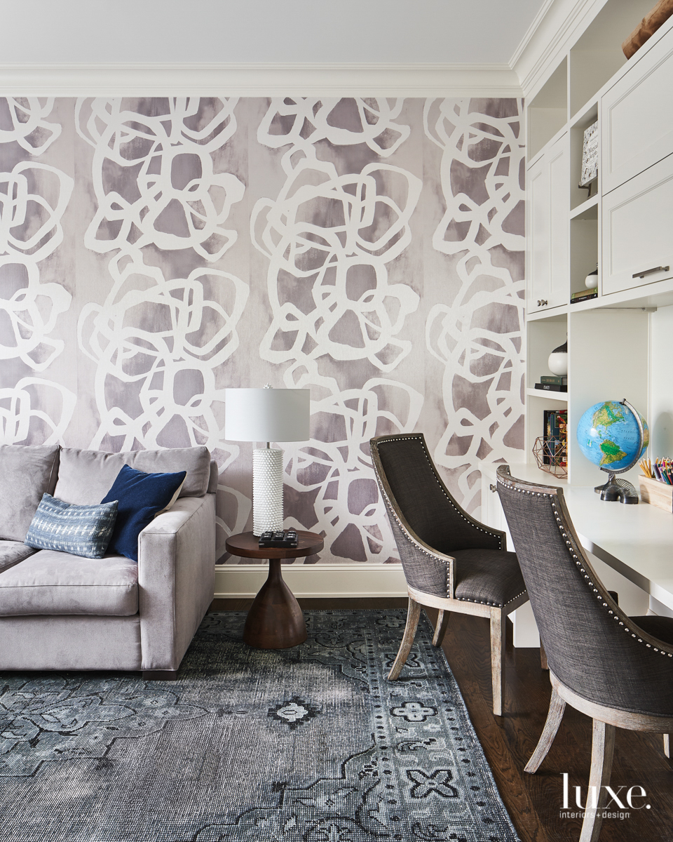 playroom built-in desk abstract wallcovering