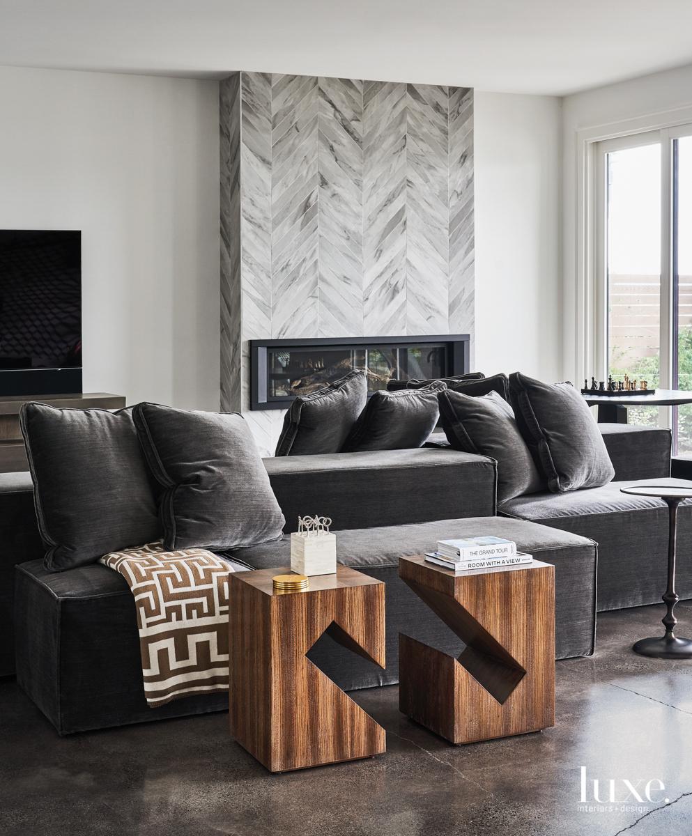 gray chevron tile fireplace family...