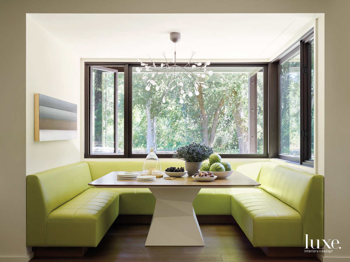 lime banquette breakfast nook