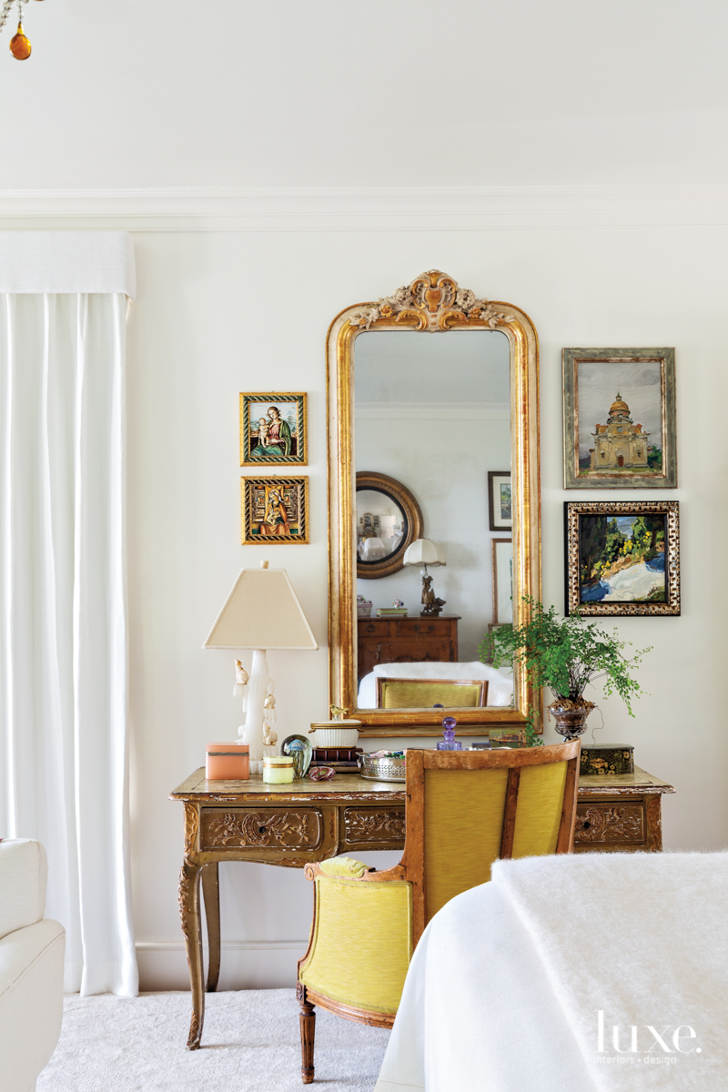 master bedroom with antique ladies...