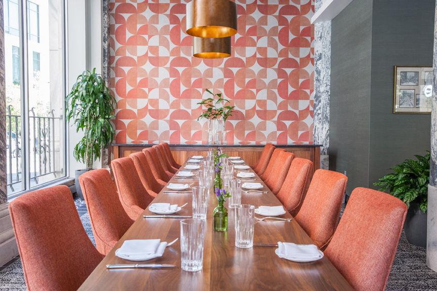 by george restaurant orange tweed chairs
