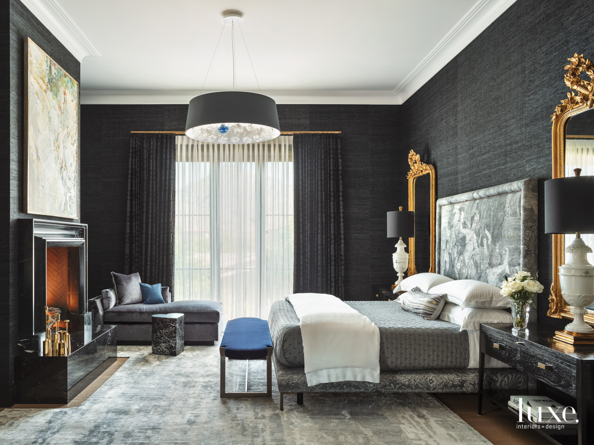 master bedroom with navy blue...