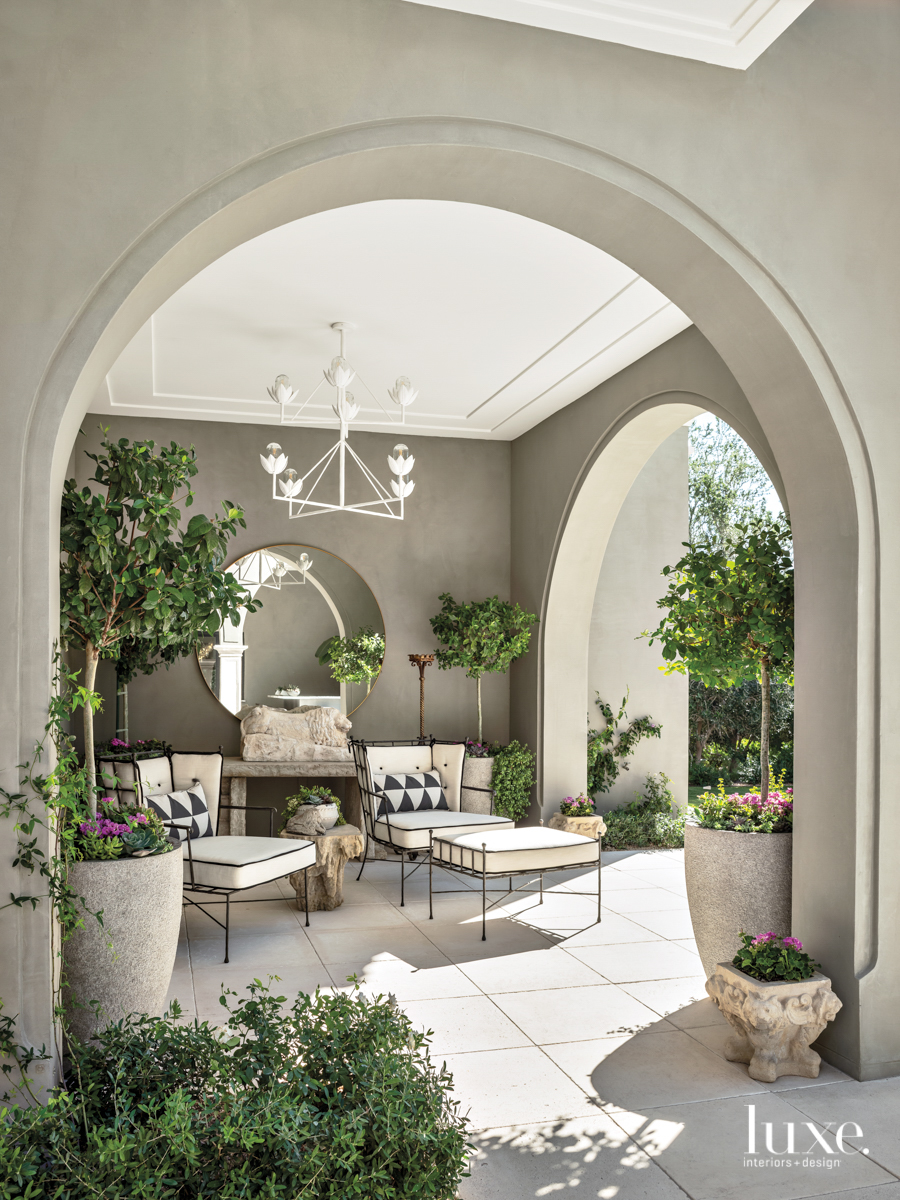 outdoor pavillion with greenery and...