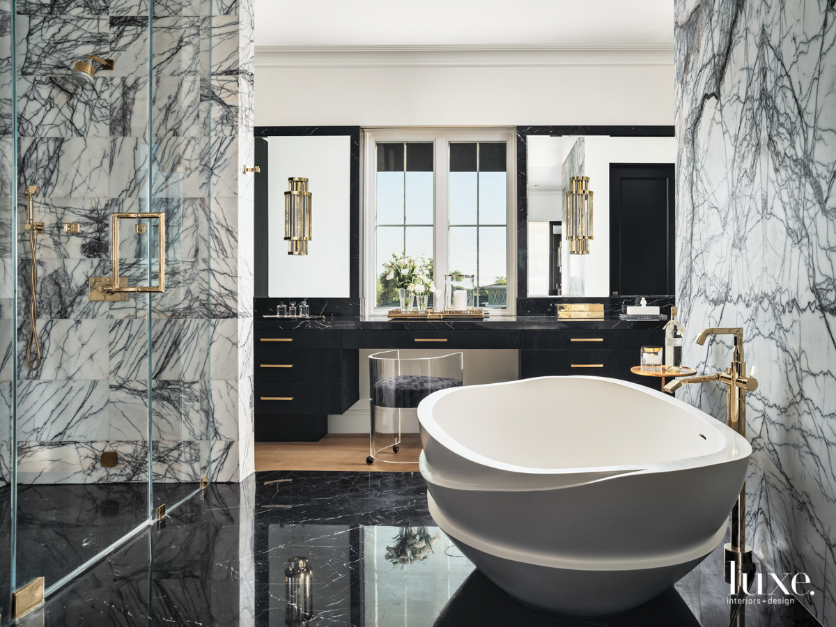 black and gray master bathroom...