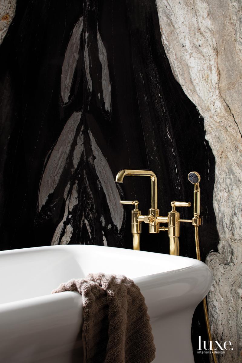 black stone brass facuet bathtub