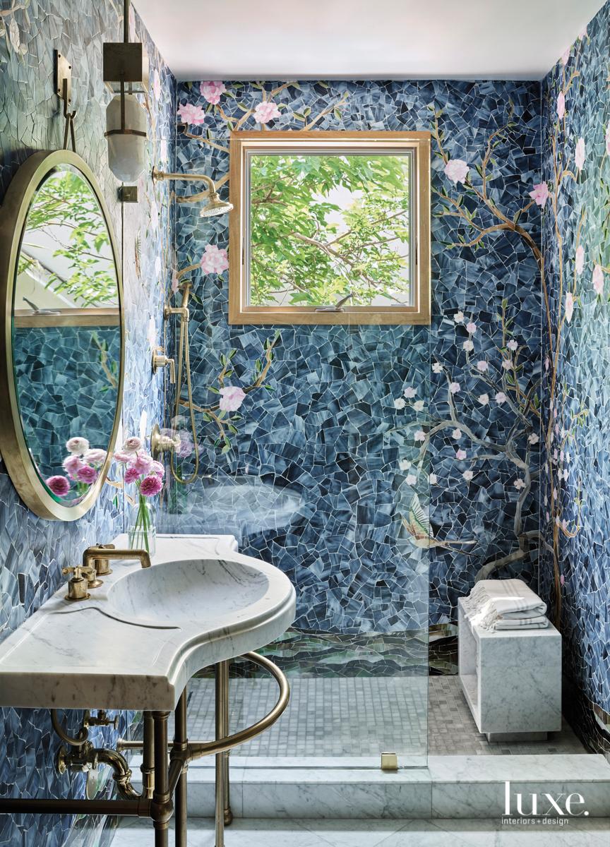 floral tile mural bathroom shower