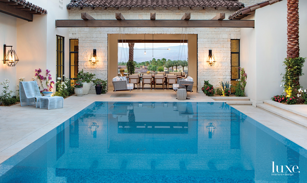 courtyard pool with limestone decking