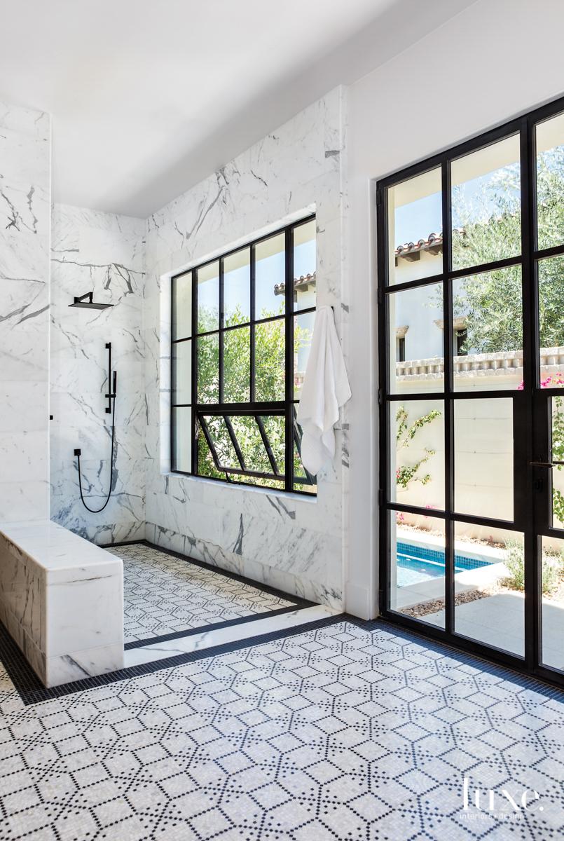 calacatta marble and basait mosaic...