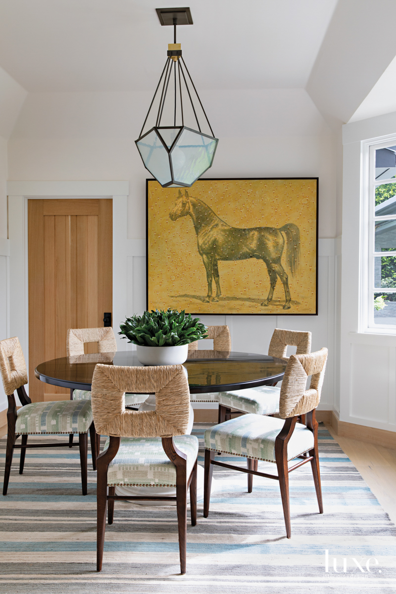 Breakfast room with horse painting...