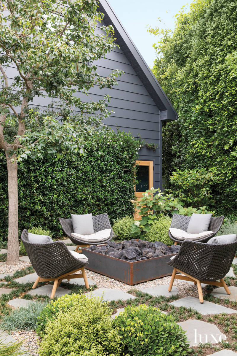 Outdoor seating area around a firepit
