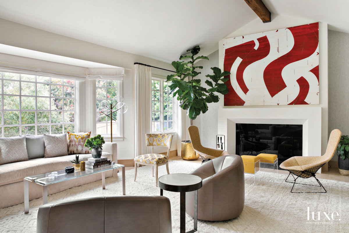 White painted living room with...