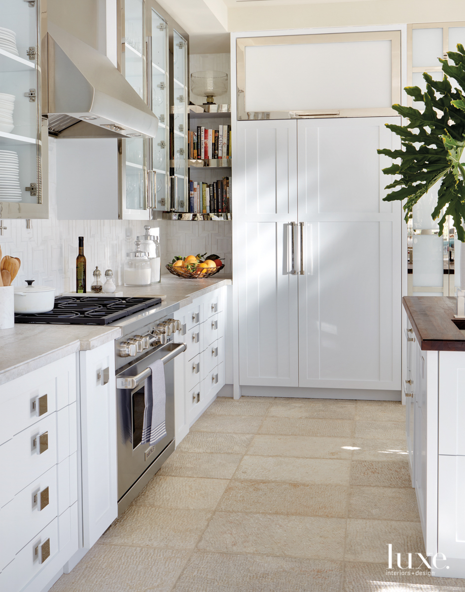 Rancho Mirage kitchen with nickel details and white cabinetry