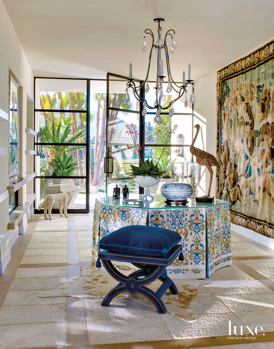 Rancho Mirage foyer with Flemish...