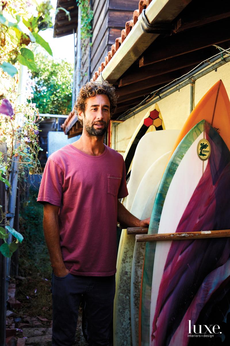 Joe Skoby and surfboards