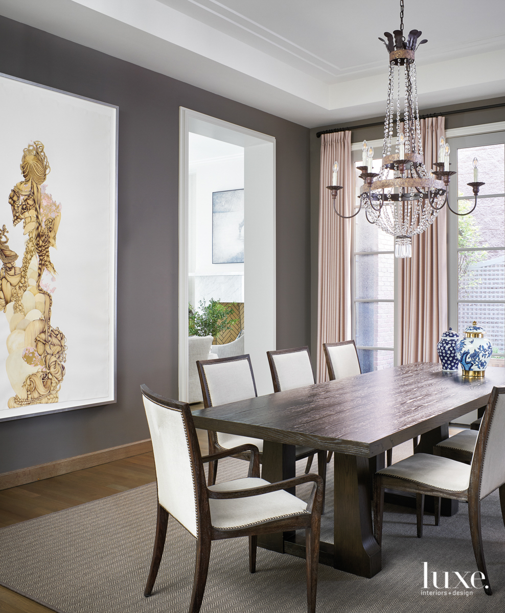 dark gray dining room with...