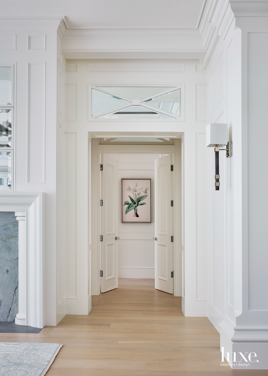 hallway double doors with faux...