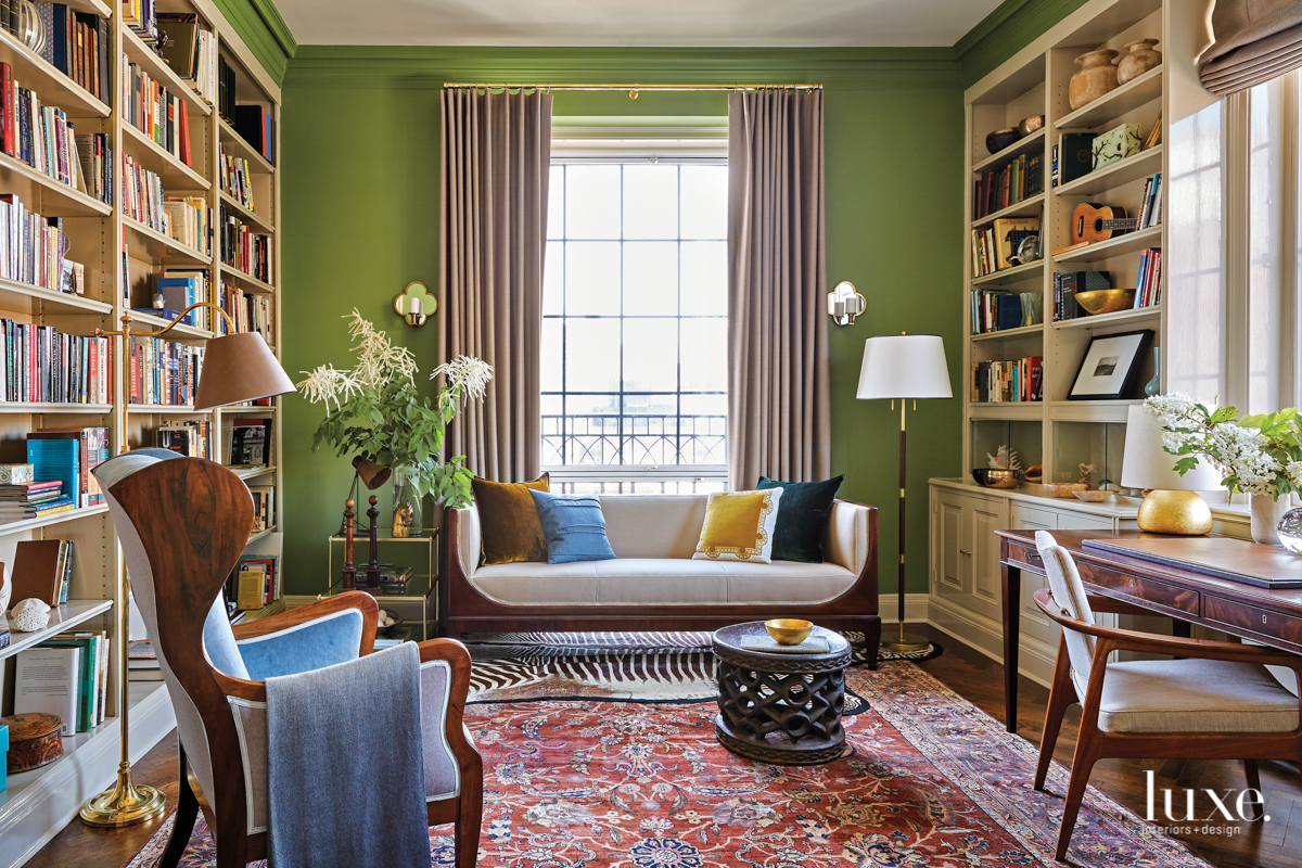 green library with midcentury modern...