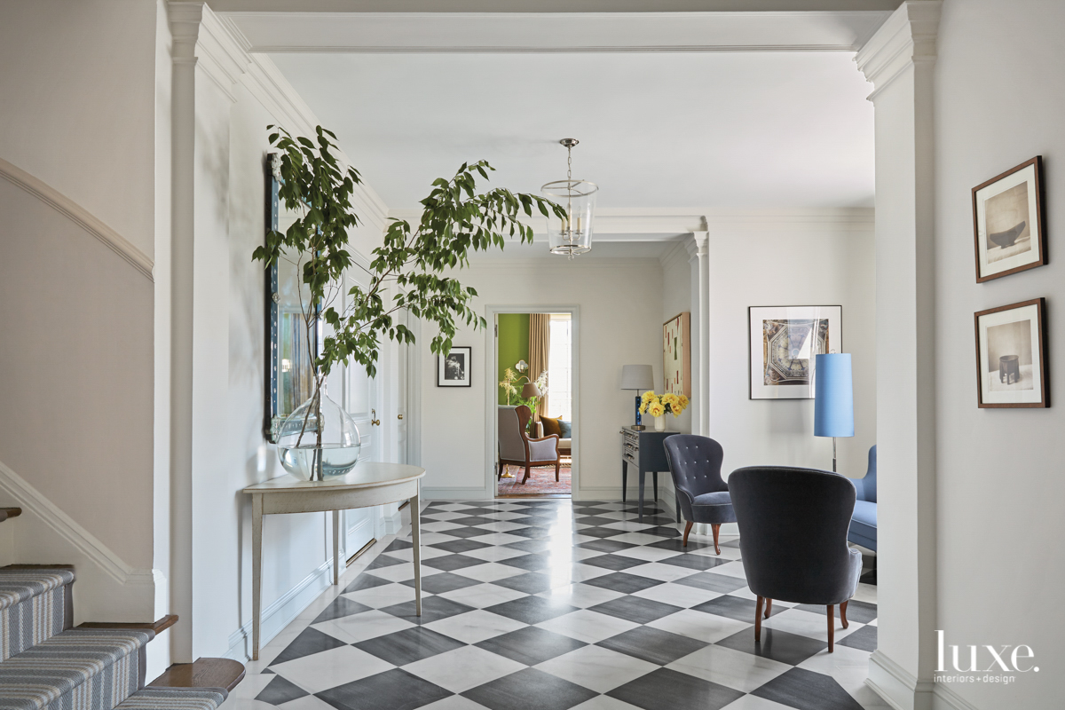 black-and-white tile indoor entry