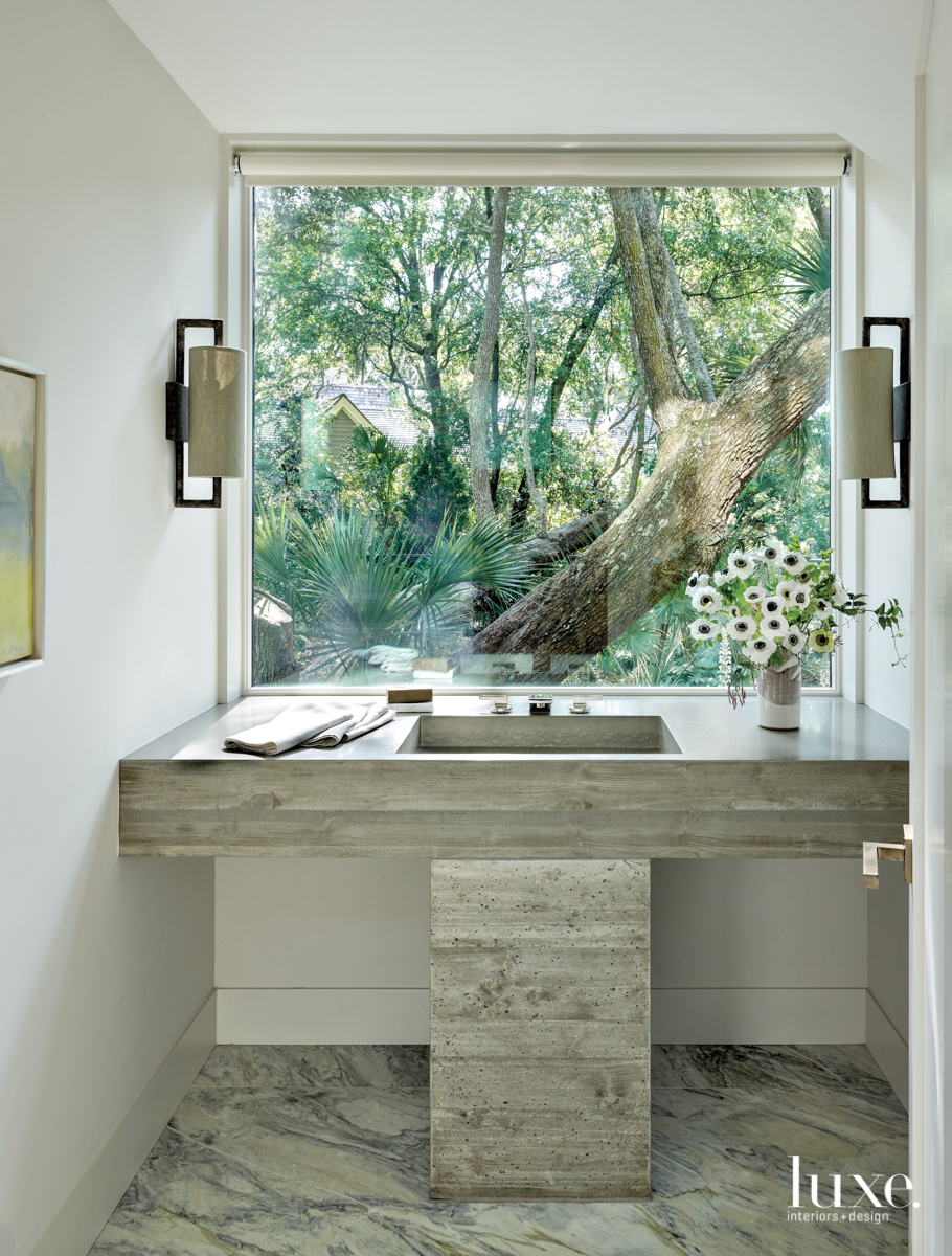 powder room with picture window...