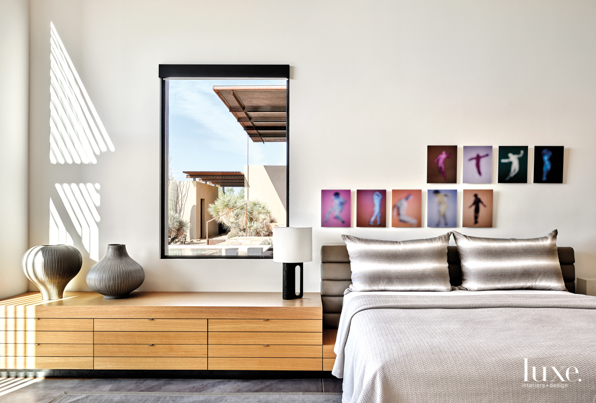 The master bedroom with artwork...