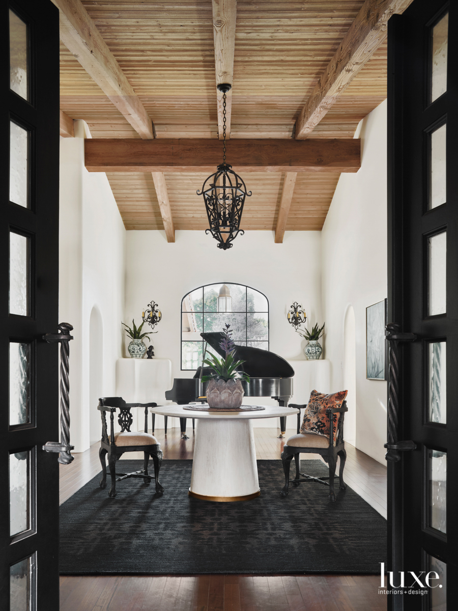 The black-and-white-dominated entry way where...