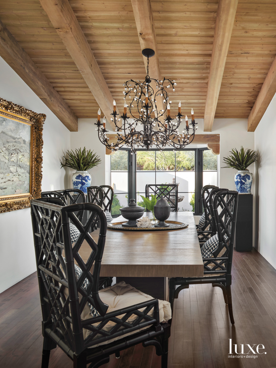 A symmetrical dining room is...