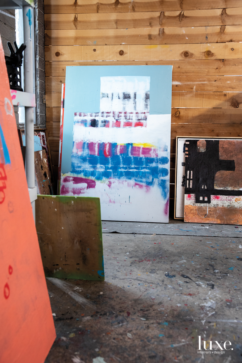 Michael Viglietta's pieces lean up against a wall in his studio.