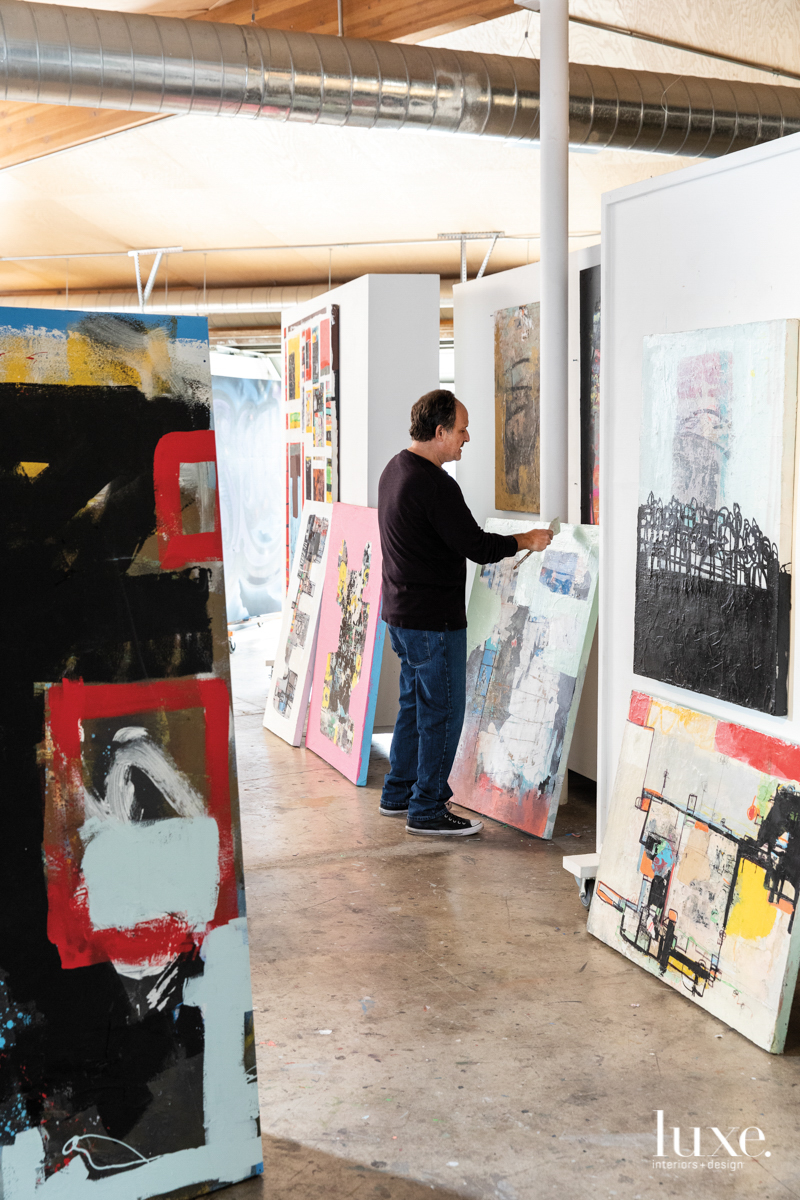 Viglietta painting in his studio.