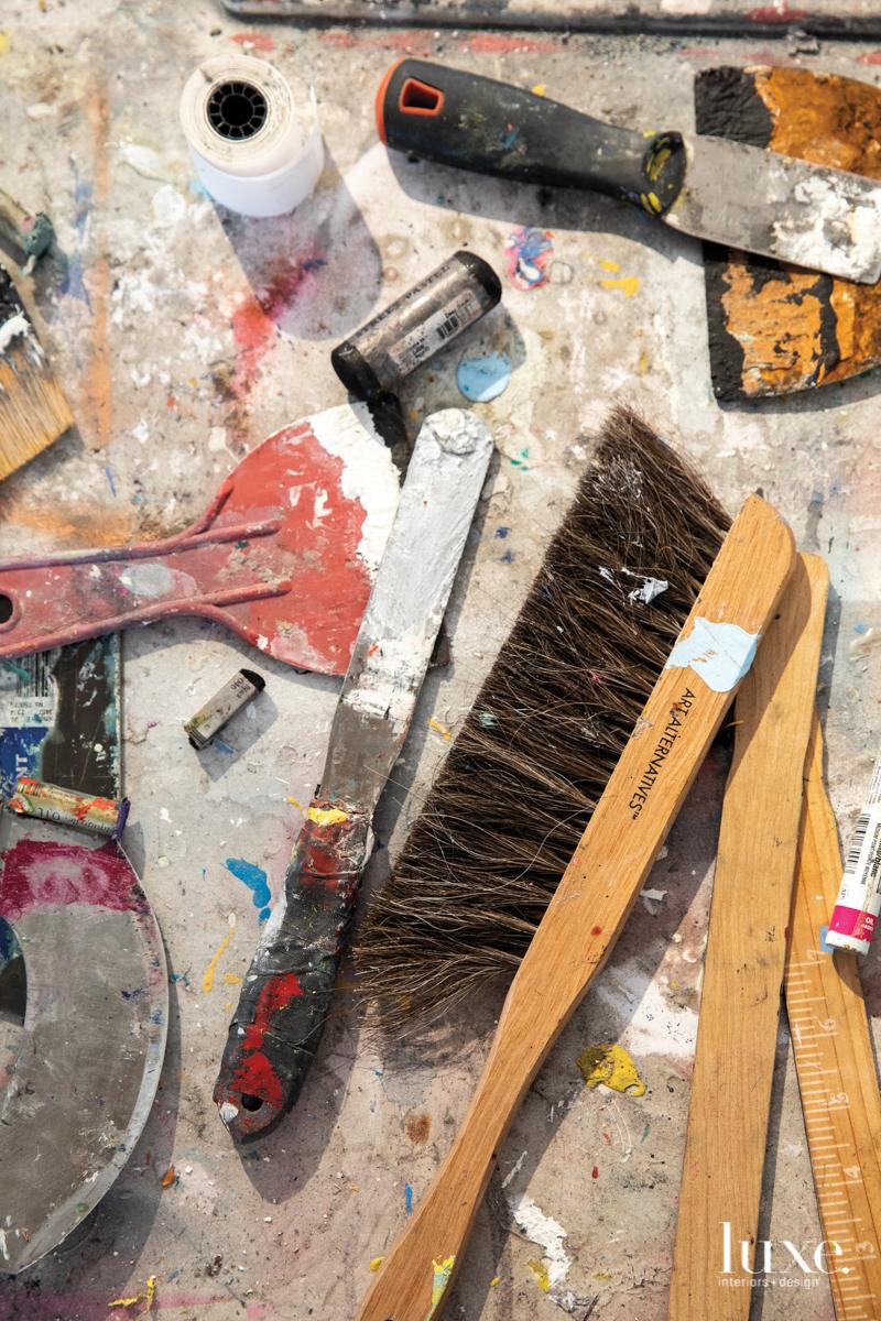 Michael Vigletta's tools on a table.