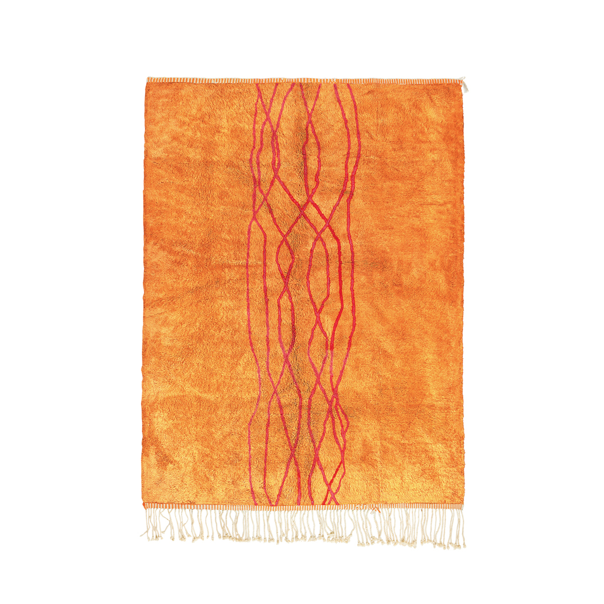 Flow Rug in Tangerine Orange and Scarlet Red