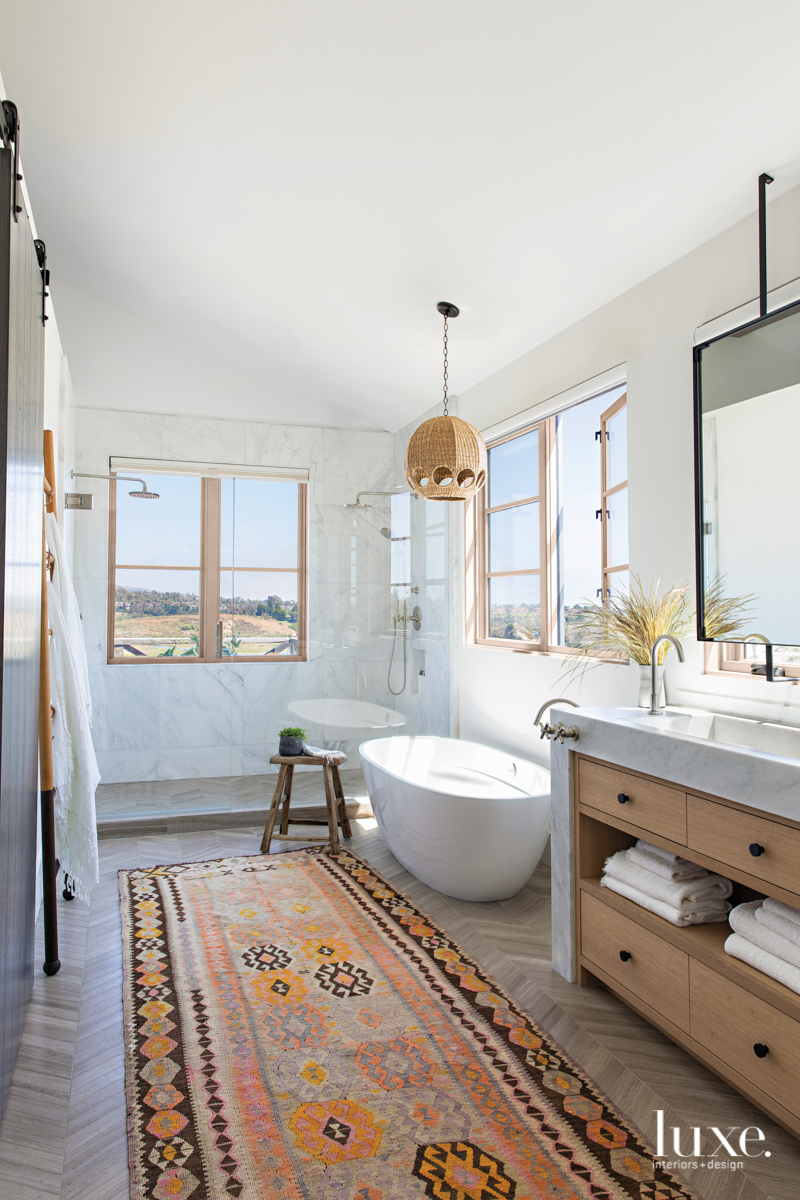 master bathroom with vintage rug...