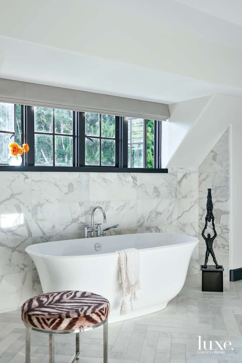 master bathroom with stand alone...