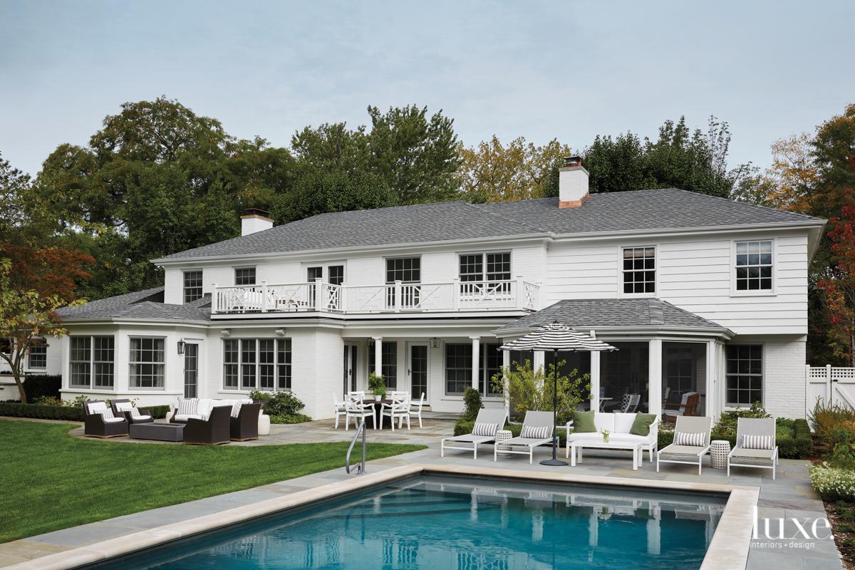The backyard has a pool...