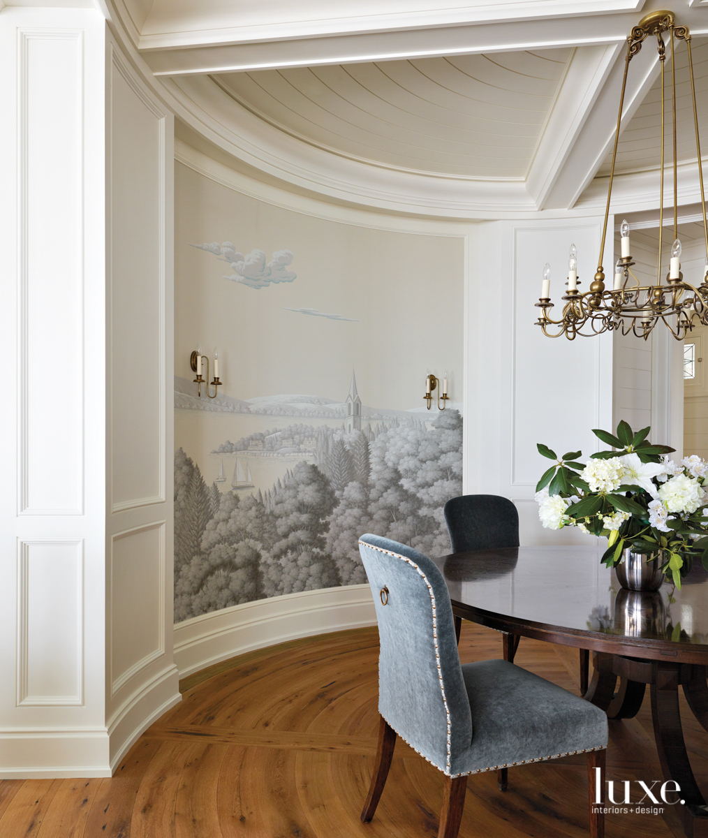 A handpainted Degournay mural covers...