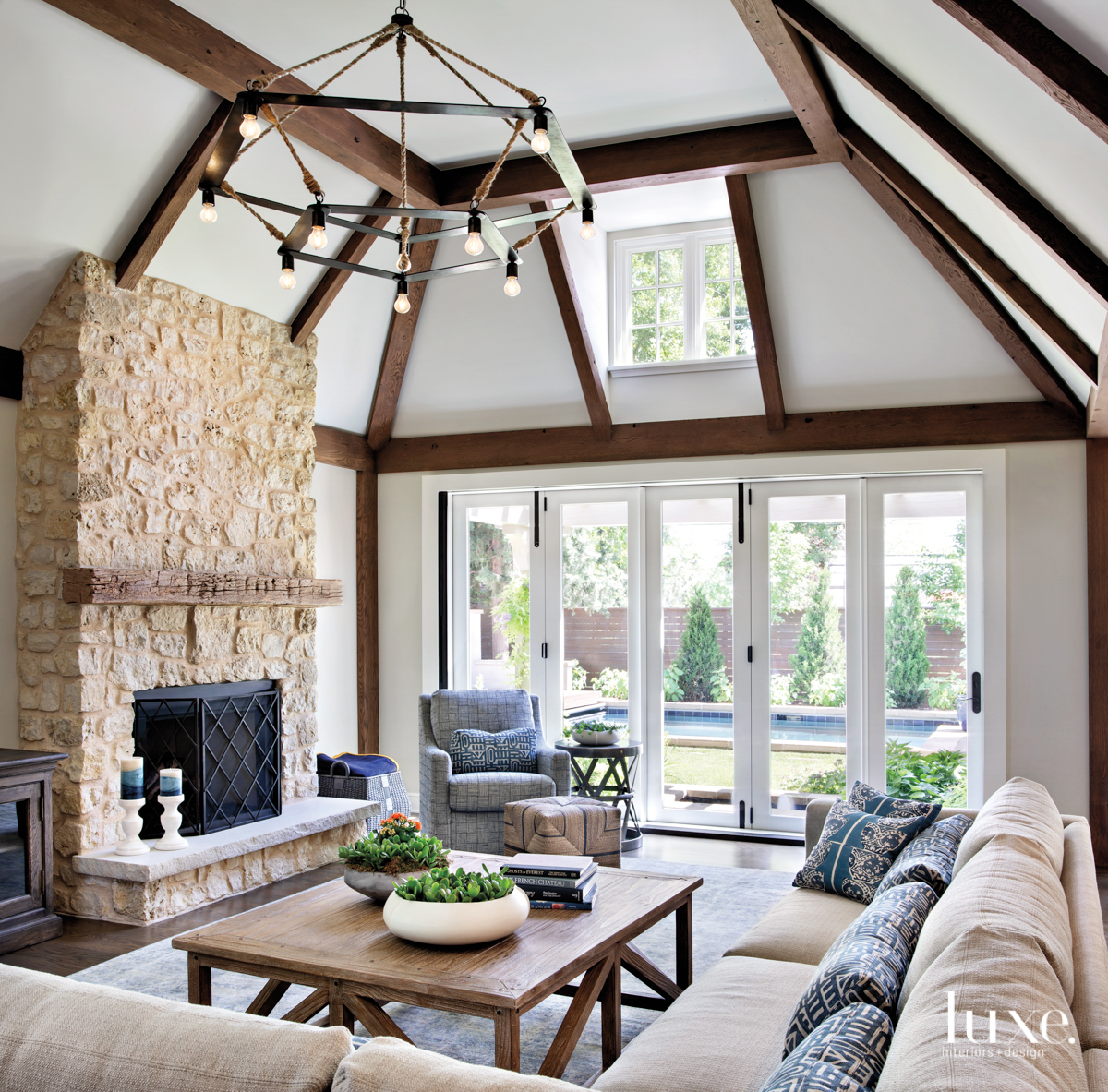 Family room with high ceilings...