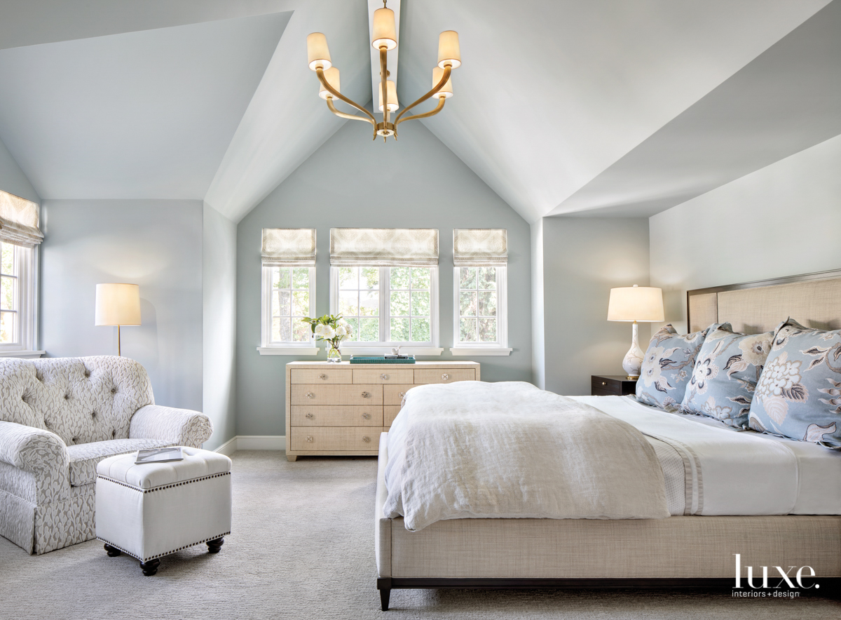 Master bedroom with high ceiling,...