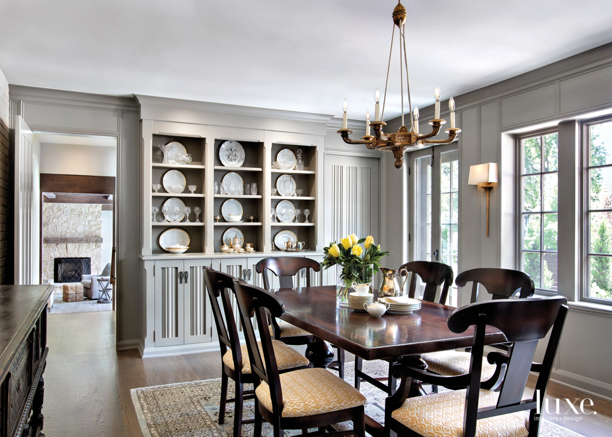 Dining room with shiny gray...