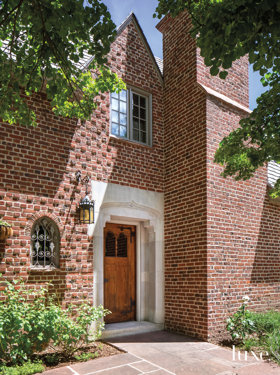 The brick exterior of a...