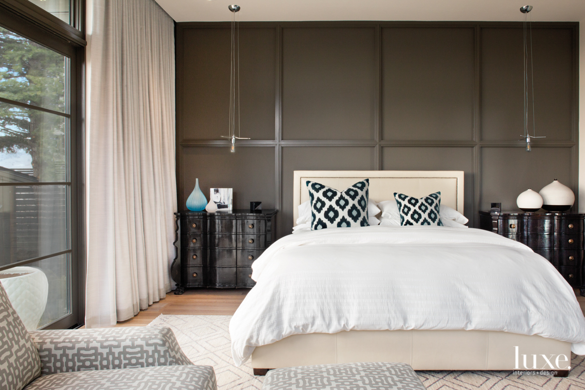 The master bedroom features a...