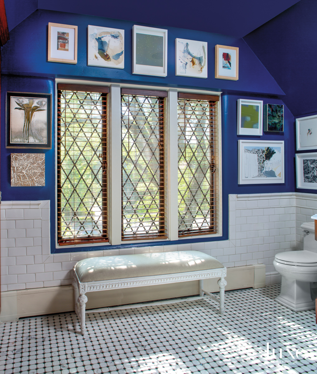 The master bathroom features a...