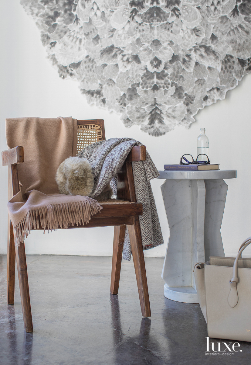 Vignette of chair with accessories