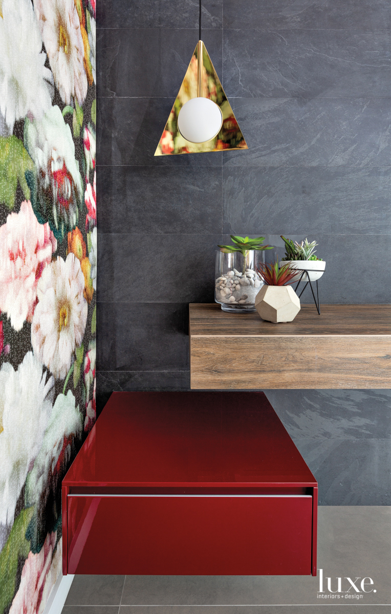 powder room with floral wallcovering,...