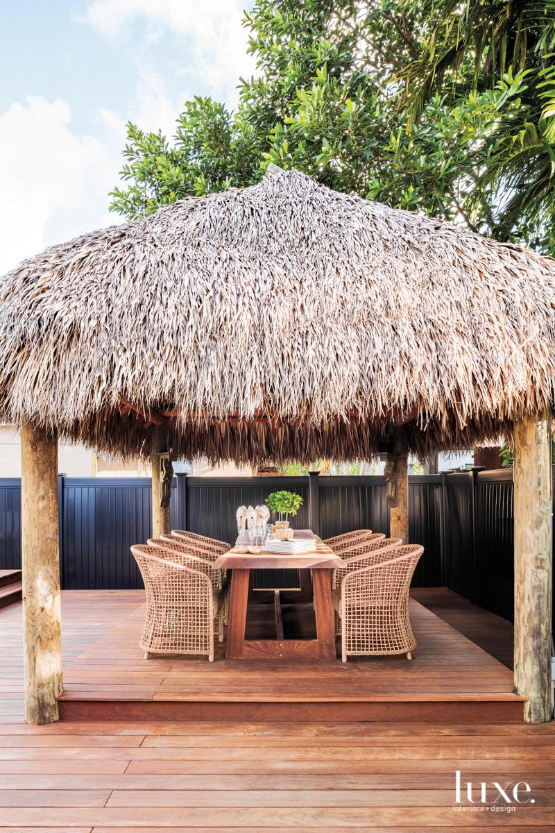 Tiki cabana shades wooden outdoor...