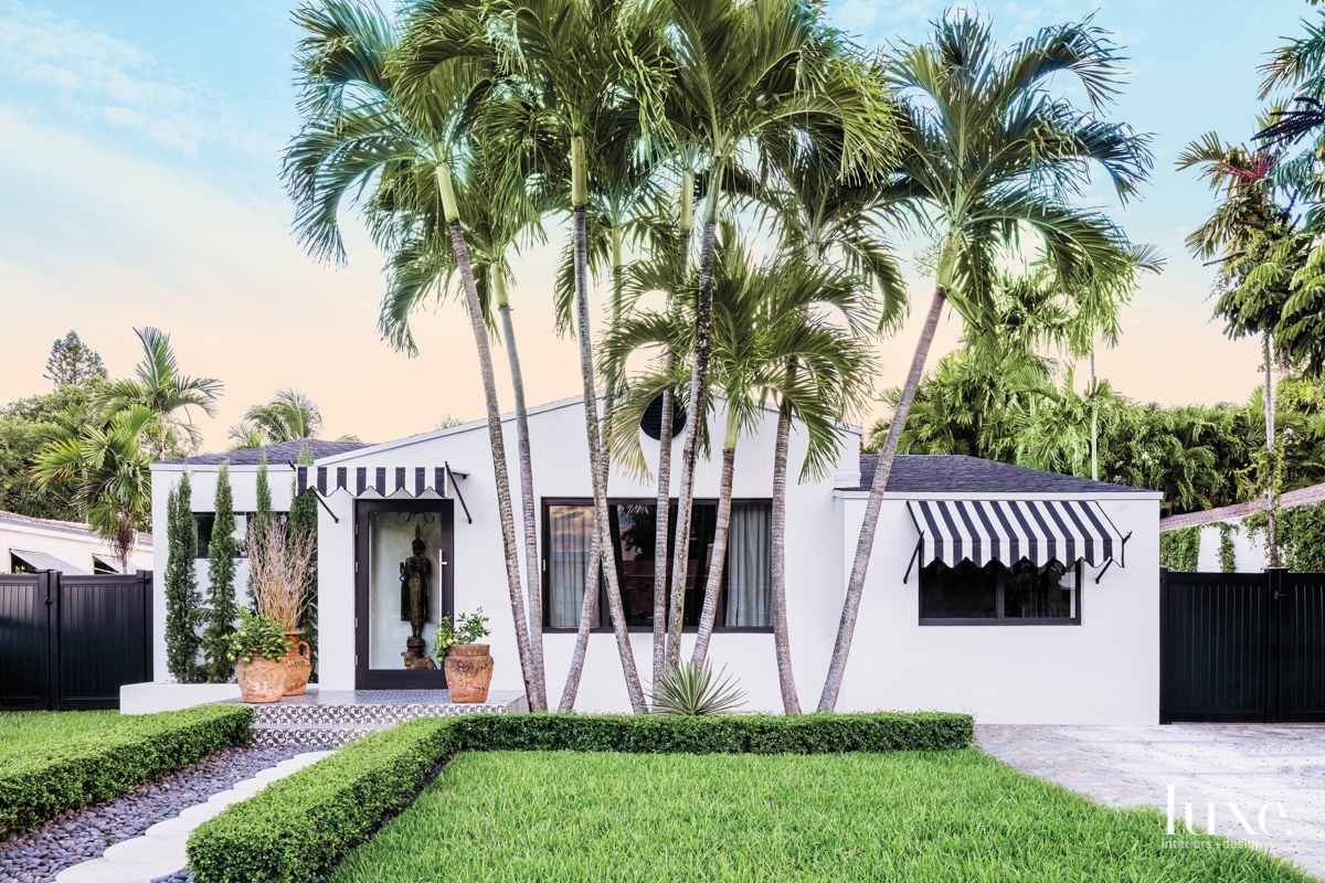 Black and white exterior of...