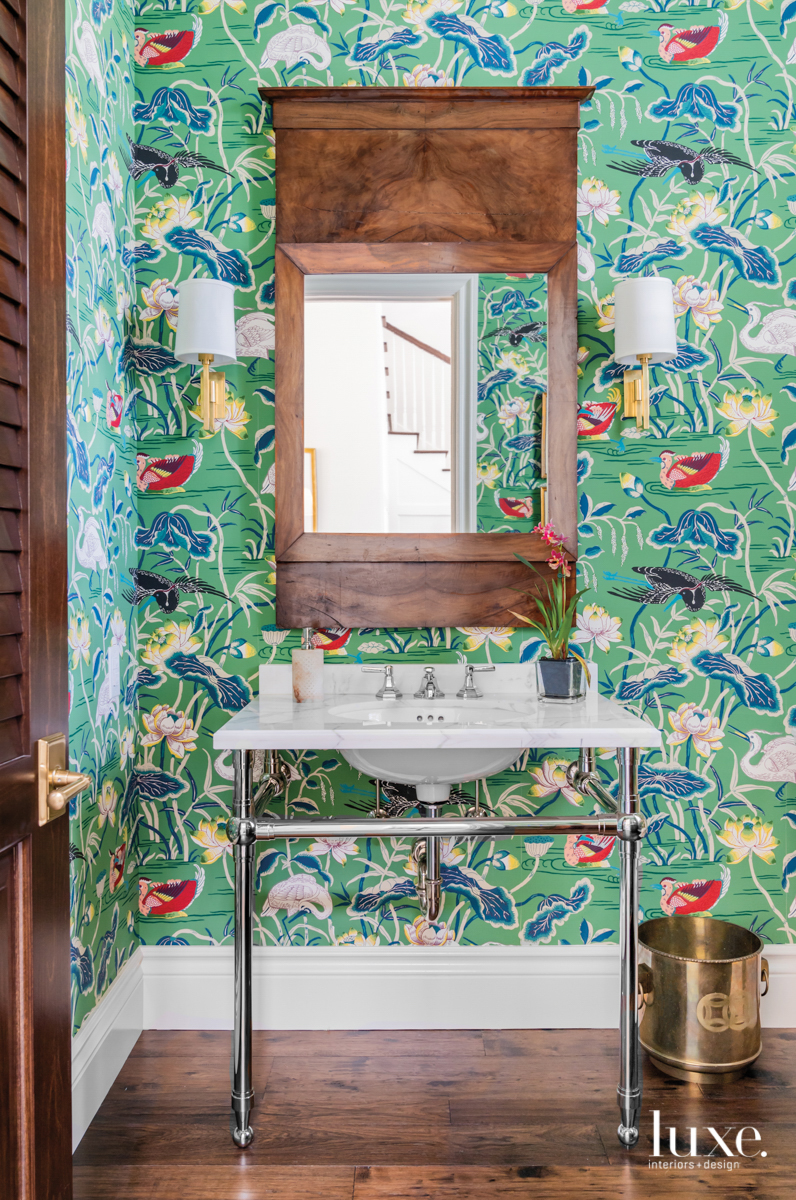 bathroom with lotus garden wallcovering...