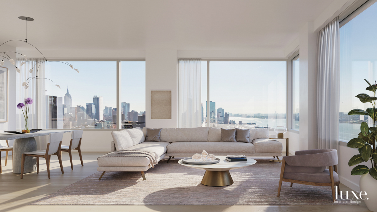 611 West 56th Street neutral living room rendering