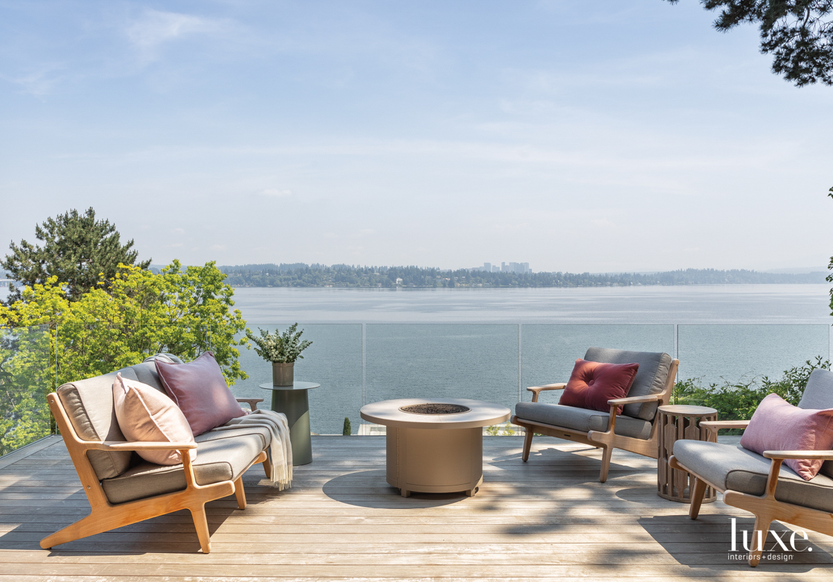 backyard overlooking the lake with...