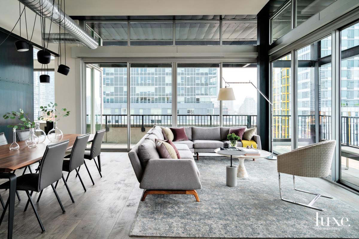 gray urban loft living room...